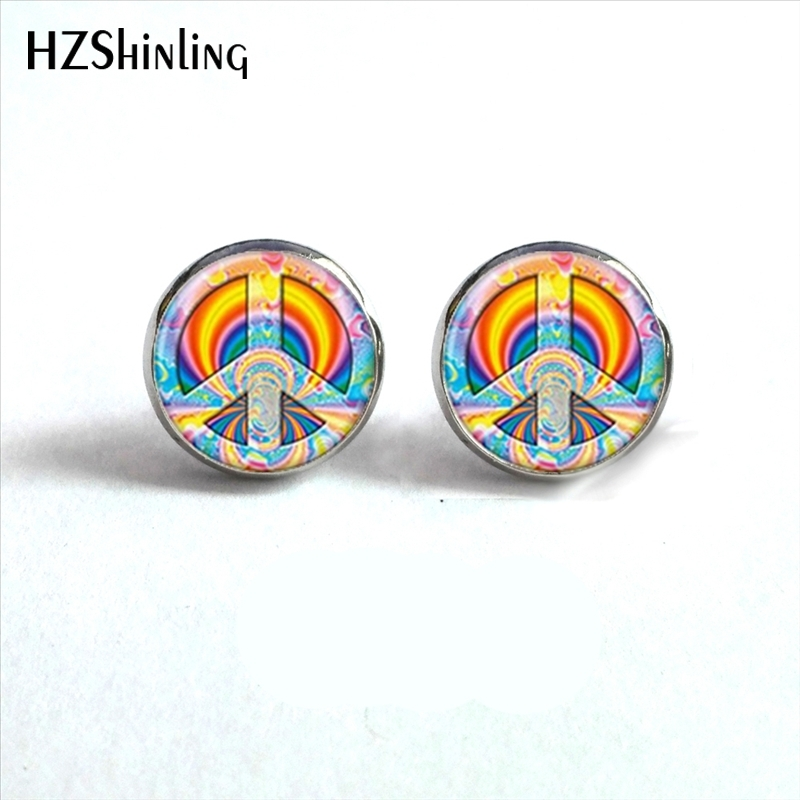 NES-0062 Hippie Peace Earrings Sign Peace Stud Earrings Peace Symbol Jewelry Glass Cabochon Earrings Handmade HZ4