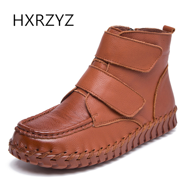 HXRZYZ women ankle boots winter handmade genuine leather boots 2017 autumn female new fashion side zipper women's winter shoes hxrzyz autumn ankle boots women increased wedges new round toe thick heel female anti skid side zipper shoes black winter boots