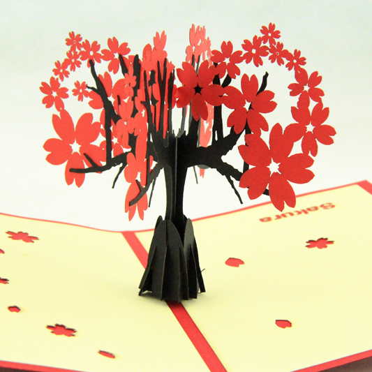 Cherry blossoms trees  /3D pop up greeting card/ handmade kirigami card  Free shipping carousel horse pop up card 3d greeting card handmade kirigami card free shipping
