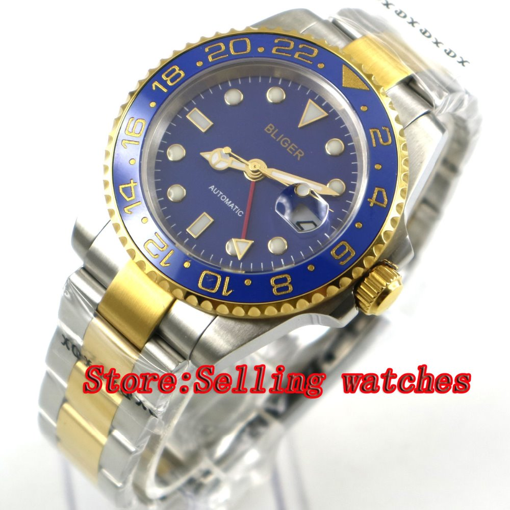 40mm bliger blue dial sapphire glass blue ceramic bezel GMT date automatic men watch цена и фото