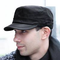 GBCNYIER Spring Male Hat Real Leather Soft Goatskin Fashion Men's Army Cap Cool Spring Sunhat Bone Brim Leather