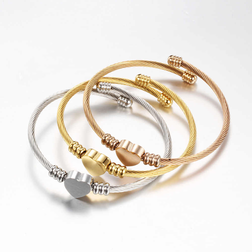 Tri-Color Stainless Steel Wire Braided Bracelet Cable Wire Titanium Steel Heart-Shaped Bracelet Rose Gold Fashion Women Bracelet