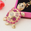 Hot Sale  1 PC Lovely Women Fashion Crystal Rhinestone Tortoise Keyring Charm Pendant Purse Key Chain