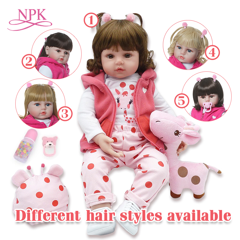 Npk brinquedos para meninas 48 cm reborn boneca do bebê com boneca bouse e bonecas cabelo bebe reborn corpo de silicone realista