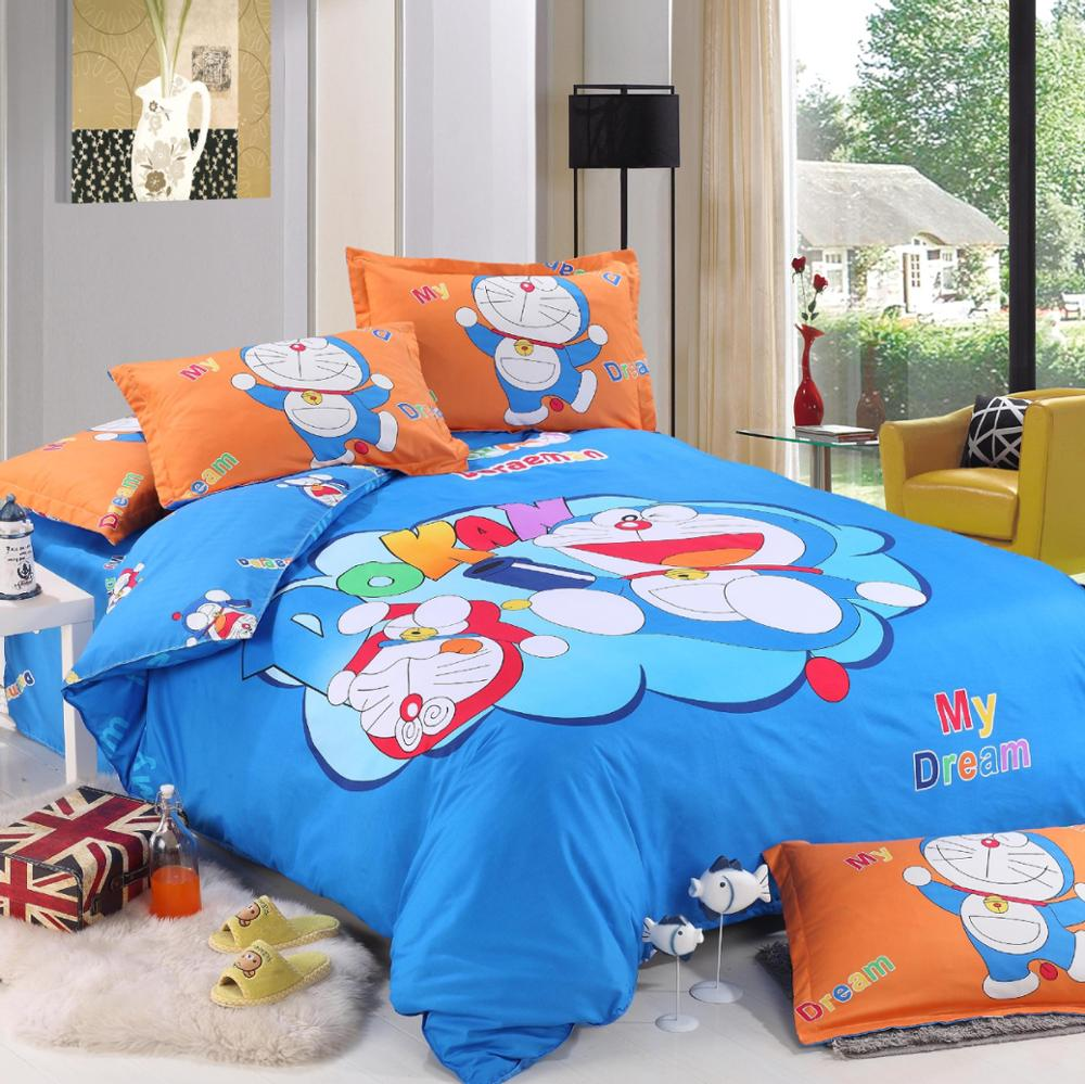 Hello kitty bedsheet blue - Aliexpress Com Buy 3 4pcs Cute Cartoon Bedding Set Doraemon Hello Kitty Duvet Cover Set Bed Sheet Set Bed Linen For Kids Adult Twin Ful From Reliable Bed