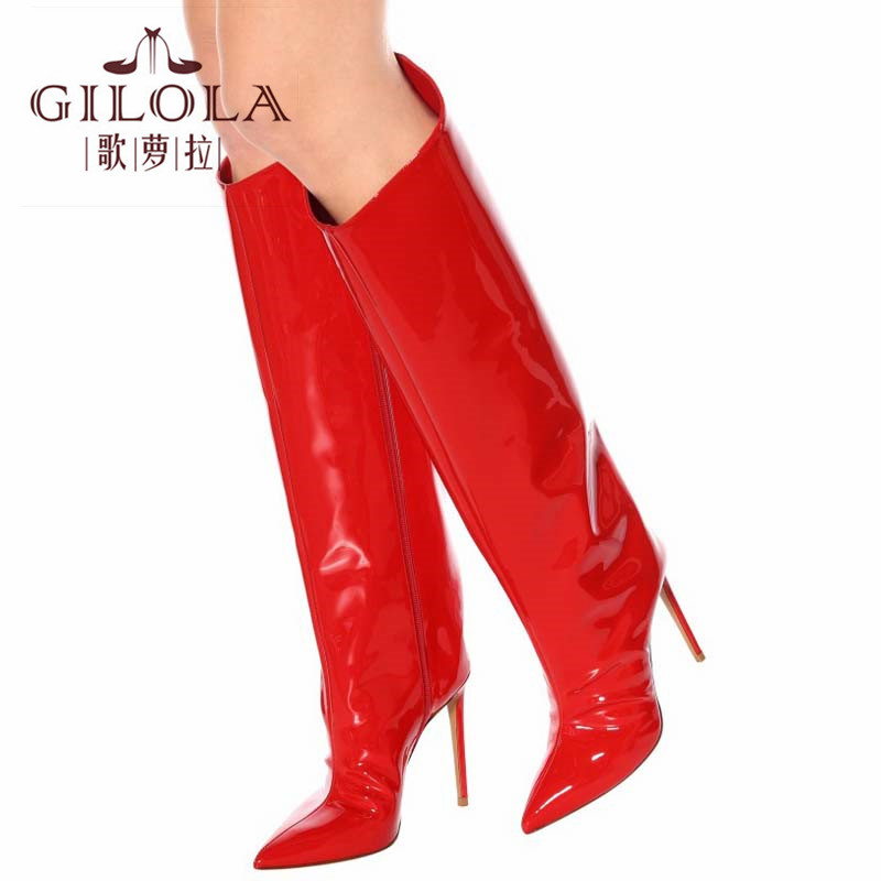white Y0117538q Femme Mode Hauts Hautes Gold Moto Mince Pour forme Chaussures Bottes Talons Plate Gilola Cm green 12 Femmes red x6qwHwgRZ