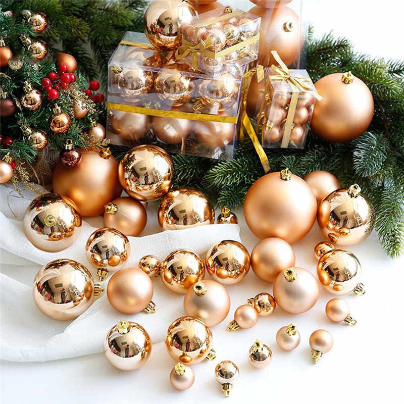 24Pcs Christmas Ball Ornaments for Xmas tree Bauble Hanging home decoration supplies 3cm colorful Plastic balls party decor gift