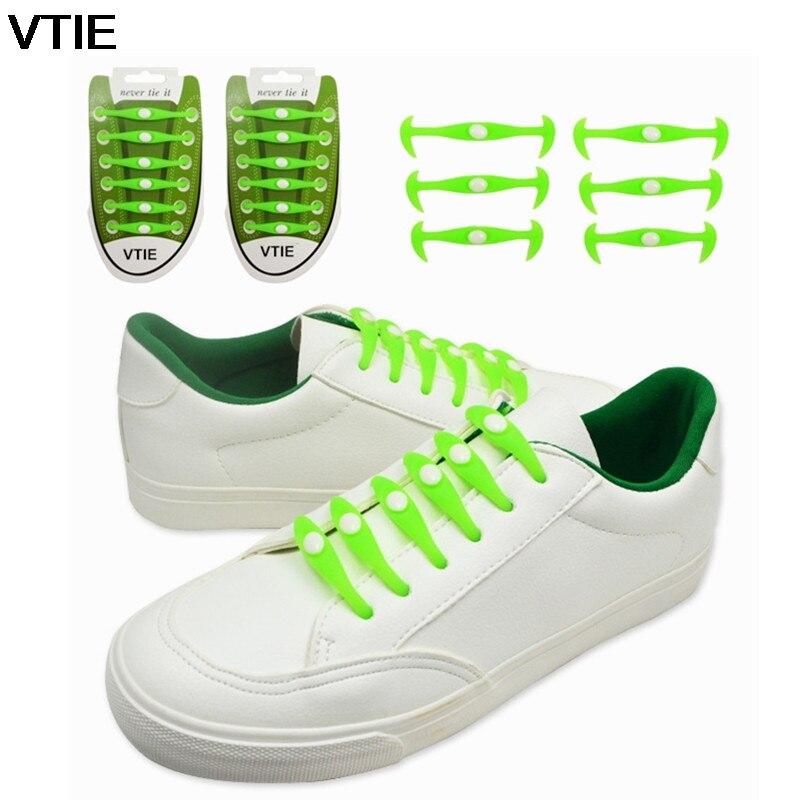 VTIE 2018 Silicone Laces Luminous Lazy Shoelace Shine Horn-type Laces Sports Trend Wild Shoelaces Shoe Laces No Tie 12pcs/sets