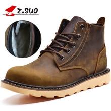 Z. Suo männer stiefel, leder mode stiefel mann, freizeit mode Winter hinzufügen flusen wärme männer stiefel ankle bots. zs359M
