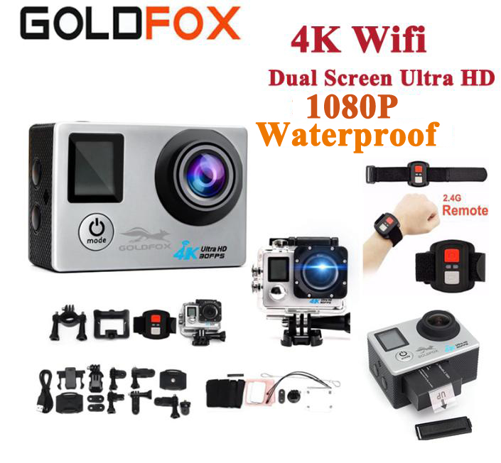 GOLDFOX Ultra HD 4K Action Camera Wifi 1080P 16MP Dual Screen 170D Go Waterproof Pro cam 4K Sport Camera Mini Dvr+Remote Control battery dual charger bag action camera eken h9 h9r 4k ultra hd sports cam 1080p 60fps 4 k 170d pro waterproof go remote camera