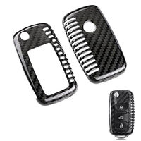 Carbon Fiber Flip Remote Key Shell Cover Case for Golf MK5 Beetle Polo Jetta GTI Tiguan Eos Touareg Rabbit Passat car styling