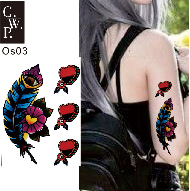 7ad75473c OS03 2 Pieces Old School Punk Decor Style Feather and Heart Temporary Tattoo  best Body Art