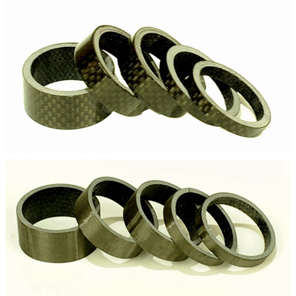 MCELO 5PCS full Carbon Fiber bike headset spacer Bike Cushion Ring Stem Spacers UD 3K Fix Refit 5 Shape Bicycle Spacers