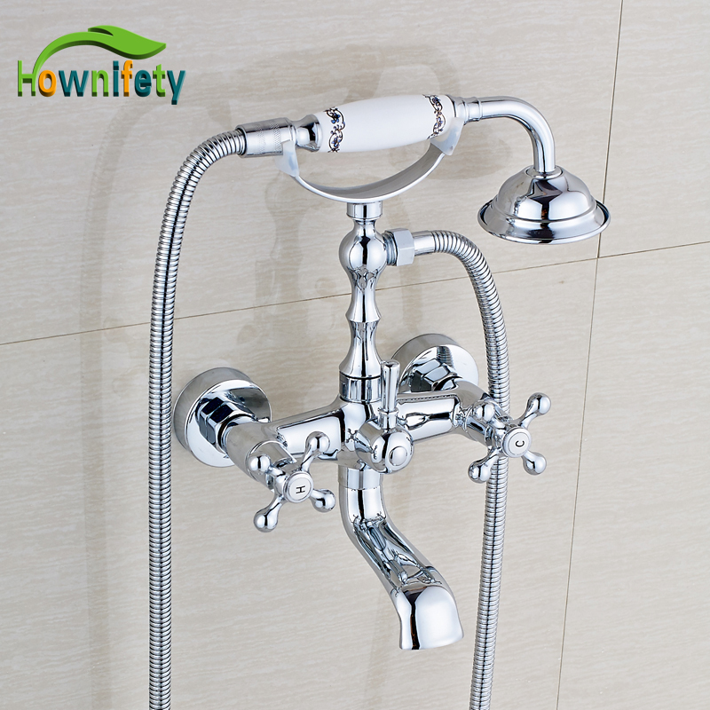 Wall Mount Bathroom Tub Faucet Double Handle Mixer Tap with Hand Shower Solid Brass Chrome china sanitary ware chrome wall mount thermostatic water tap water saver thermostatic shower faucet