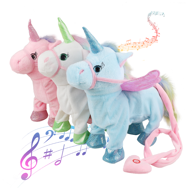 VIP Price Dropshipping 35cm Cute Electric Walking Unicorn Plush Toy Stuffed Animal Electronic Unicorn Doll Sing