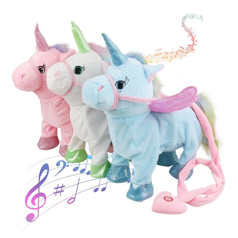 VIP precio Dropshipping 35 cm Cute Electric Walking Unicorn peluche Animal de peluche electrónico unicornio muñeca Sing Song Navidad