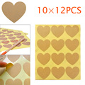 10 Sheets 120pcs Heart Shape Kraft Paper Sticker Label Custom Label Hand Made Products Label   TB Sale