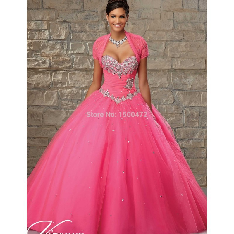 Hot Pink Ball Gown Quinceanera Dresses with Jacket Beaded Sweetheart ...