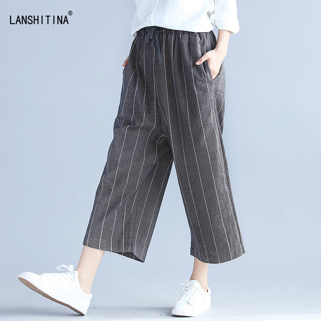 25fe9bf219dbe 2017 Summer Wide Leg Harem Striped Pants Plus Size Women Loose Cotton Linen  Palazzo Trouser Elastic Waist Capris Female Clothing