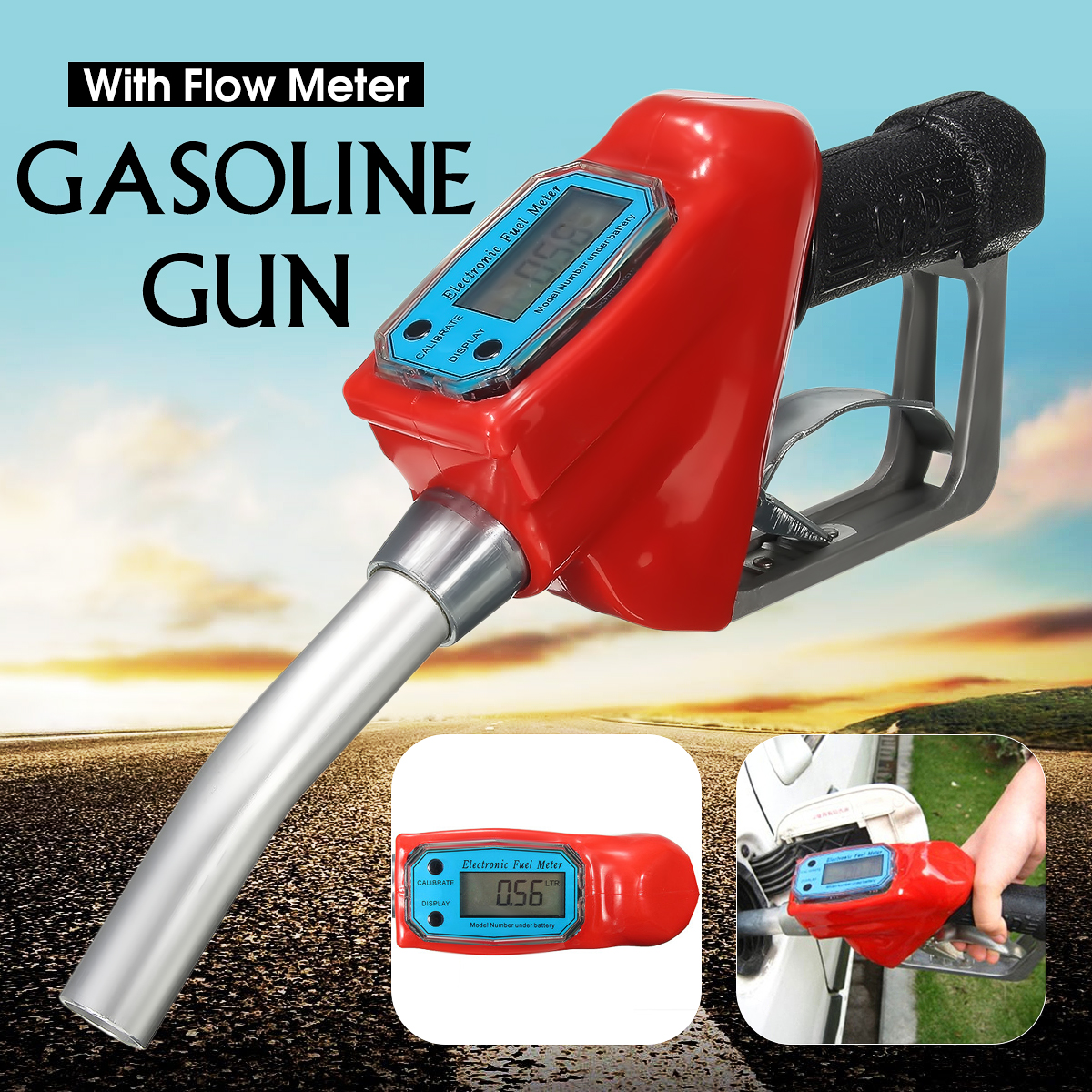 Doersupp Digital Flow Meter Indicator Fuel Gasoline Petrol Oil Refueling Gun Nozzle Aluminum Gas Station Refuel Injection Tools