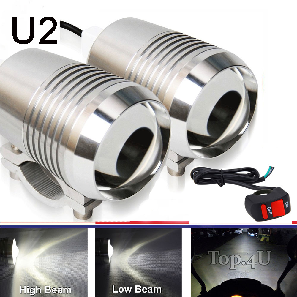 2pcs 30W U2 LED Motorcycle Motorbike High Low Flash Spot Head Bulb Light with CREE LED Driving Fog light & 1pc switch as gift