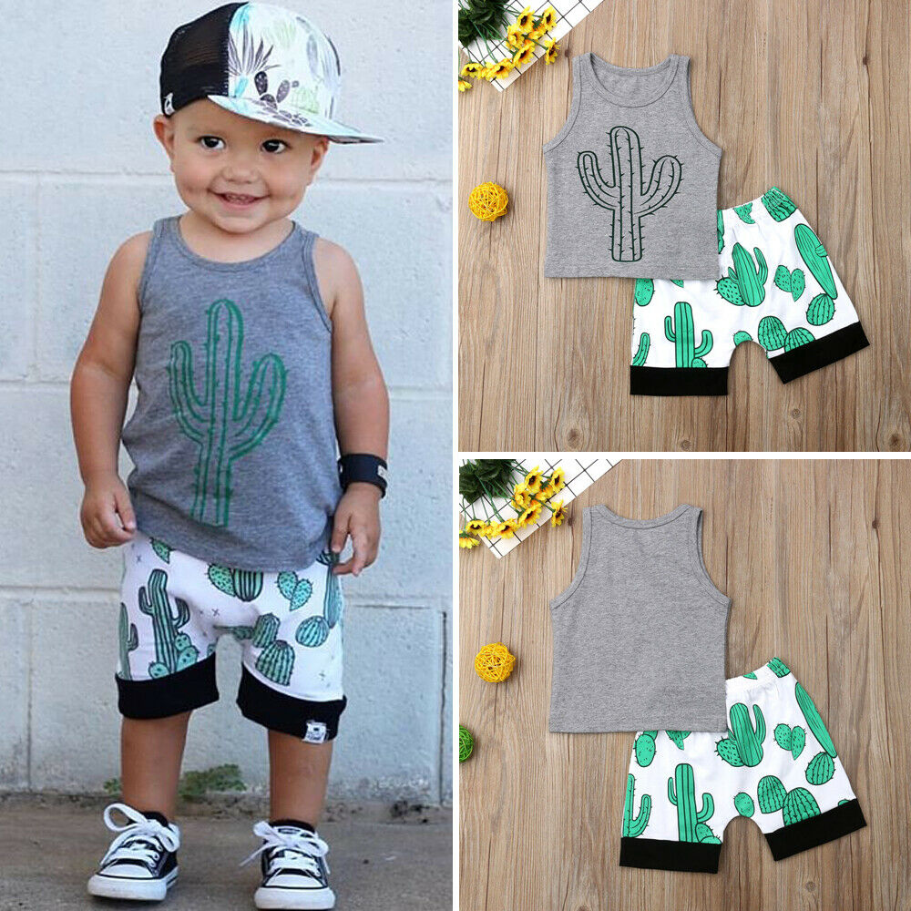 2PCS Newborn Kids Baby Boy Clothes Summer Cactus Sleeveless Tops T-Shirt Shorts Outfit Sunsuit