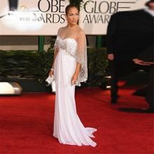 Реальное изображение, белое платье Дженнифер Лопез на Золотой глобус, красное ковровое платье, прямое платье с бисером, платья знаменитостей