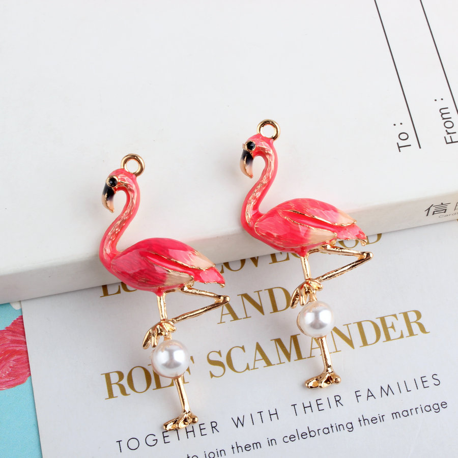 Free Shipping 30pcs/Lot 26*58mm Animal Bird Red Flamingo Necklace Pendant Charms Gold Tone Oil Drop Alloy Floating Charms Craft brand new 20pcs 16 23mm blue crystal rhinestone paved gold tone metal alloy moon necklace pendants floating pendant earring diy