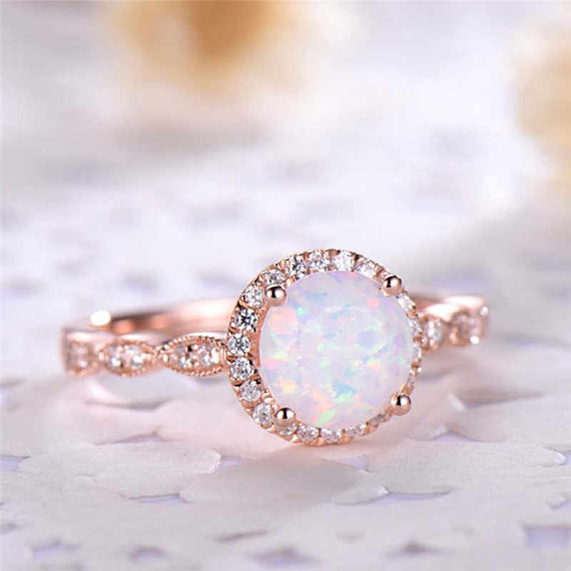 ROMAD Dainty Ronde Fire Opal Ringen voor Vrouwen Rose Gold CZ Engagement Rings in Koper Promise Ring Met Gift Box r3