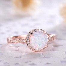 ROMAD Dainty Round Fire Opal Rings for Women Rose Gold CZ En