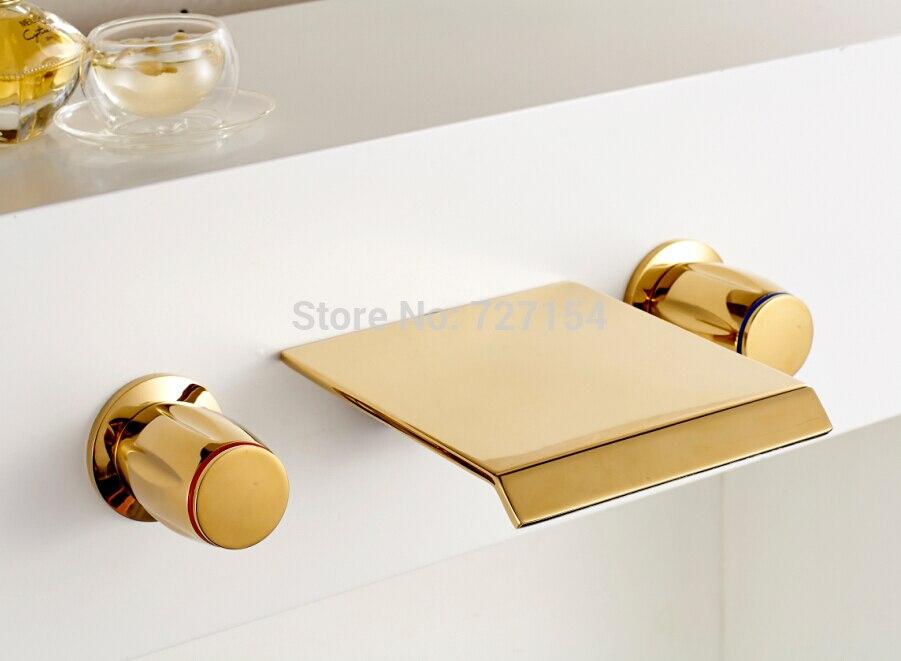 Бесплатная доставка! НОВЫЕ Golden латунь Ванная комната Двойной Ручки Смеситель для мойки Водопад Носик бортике