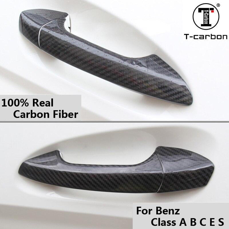 Pour mercedes-benz fibre de carbone Auto poignée de porte bouton garniture extérieure couvre pour Benz classe A B C E S GLA GLK CLA CLS 2012-2016