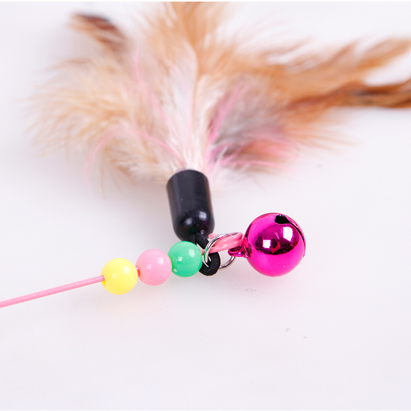 Pet Cat Toy Feather Plastic Bell Funny Cat Stick Colorful Feathers Funny Cat Rods Pet Interactive Toys Cat Accessories