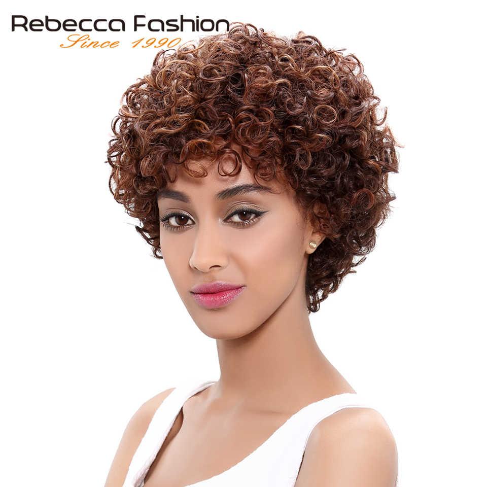 Rebecca Korte Losse Krullend Pruik Menselijk Haar Pruiken Voor Zwarte Vrouwen Menselijk Haar Volledige Pruik Peruaanse Remy Bouncy Krullend Korte krullend Bob Pruik