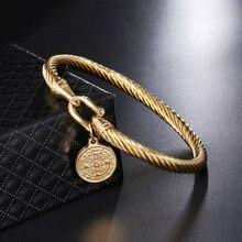 10b7b5eef7a8 D   Z Saint Benedict brazalete encanto pulseras y brazaletes para las  mujeres de Color oro 316L de alambre de acero inoxidable b.