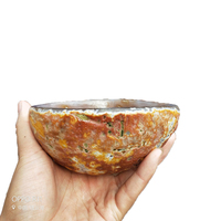 Agate crystal flower Carved into Bowl/Ashtray Polished Natural Chalcedony Gemstone Crystal Mineral Collectible Rock Miner
