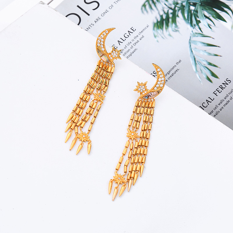 Long Tassel Women Drop Earrings Moon&Star Shape Zircon Drop Earrings Women Fashion Jewelry Gift Accessories