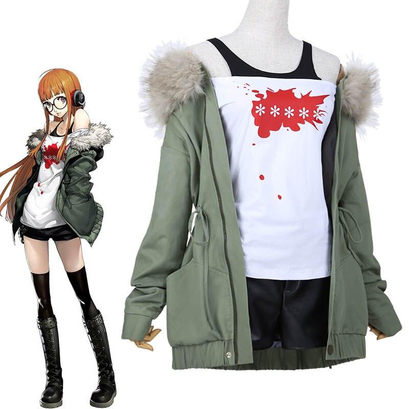 Japonais Anime Persona 5 Futaba Sakura Cosplay Cotumes Vêtements Quotidiens Femmes de Fantaisie Outfit Veste + Chemise + Shorts