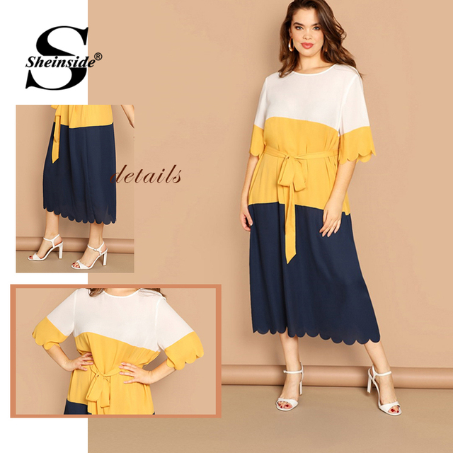 Sheinside Plus Size Scallop Trim Patchwork Dress Women 2019 Spring Elegant Belted Midi Dresses Casual Half Sleeve Straight Dress 5