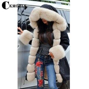 Image 5 - CKMORLS 2018 New Natural Fox Fur Jackets For Women Fur Parkas Casual Streetwear Harajuku Goth Long Coat Plus Size Long Fur Parka