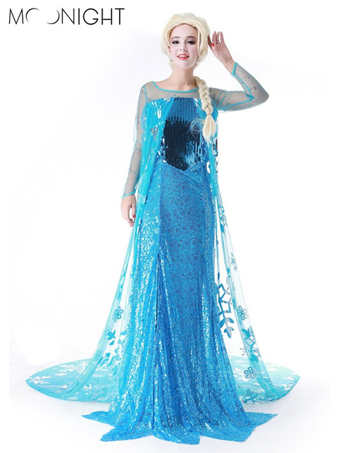 MOONIGHT Princess Anna Elsa Queen Girls Cosplay Costume Party Formal Dress Queen Dress Halloween Masquerade Costume Fairy
