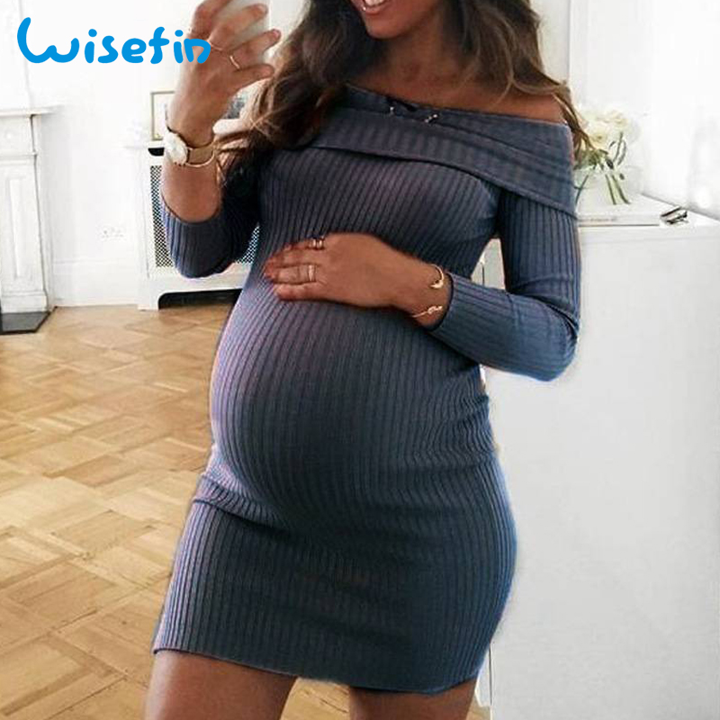 6a3cac528bfa8 Wisefin Off Shoulder Maternity Dresses Long Sleeve Pregnancy Clothes ...