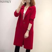 Long Cardigan Ladies 2018 Spring Fashion Long Knit Sweater Women Large Coat Casual red Jacket Winter Clothing Sweater LY1307