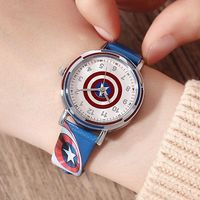 Disney brand children boys cartoon watches students leather child boy quartz waterproof Children's Watches Captain America