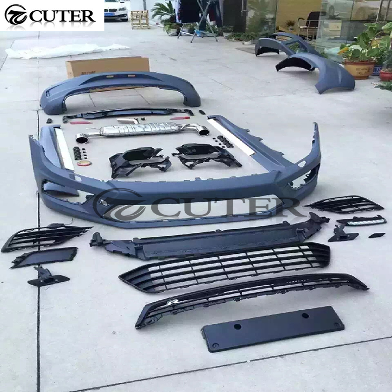 PP Unpainted Grey Primer Auto Car Bumper Styling Body Kits With Exhaust For Volkswagen Scirocco R 2015