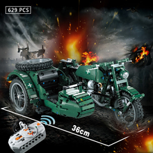 629pcs WW2 Military Series RC Motorcycle Technic Building Blocks Bricks Model Army Soldiers Weapon Vehicles