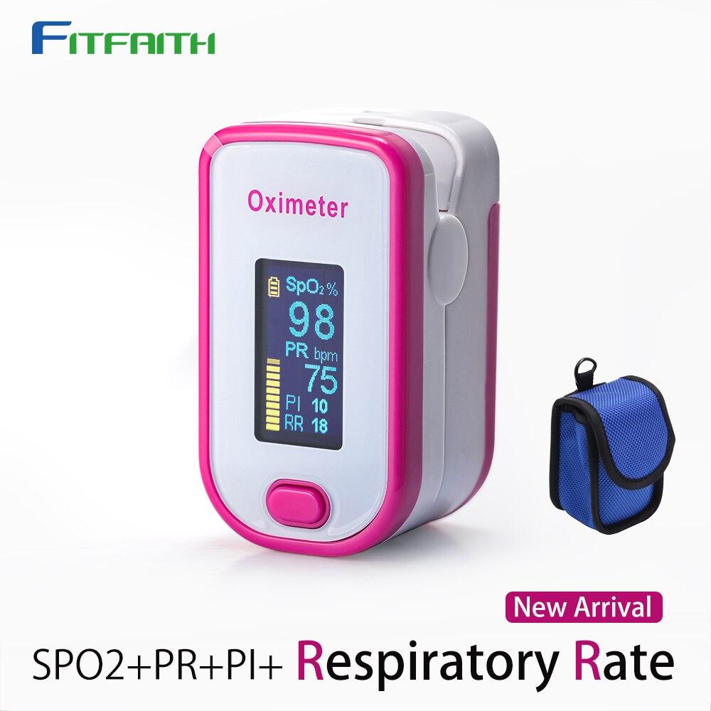 Fitfaith Oximeter Oximetro Finger Pluse Oximetr SPO2 PR PI RR Blood Oxygen Saturation M130 With Respiratory Rates