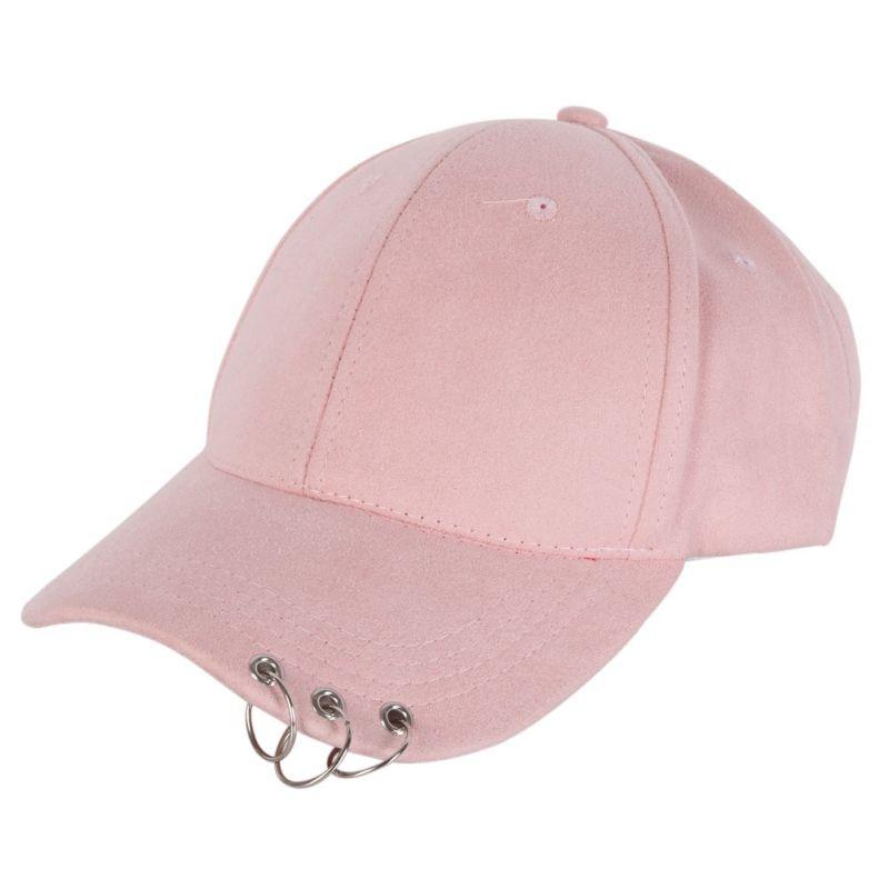Mens Snapback Hats Fashion K Pop Iron Ring Hats Adjustable Baseball Cap Unisex Casual Solid Adjustable Baseball Caps