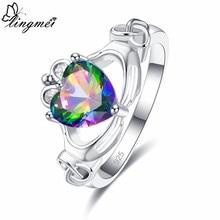 Lingmei claddagh estilo casamento noiva coração anel de promessa para mulher multipink zircon prata cor jóias moda anel tamanho 6-9