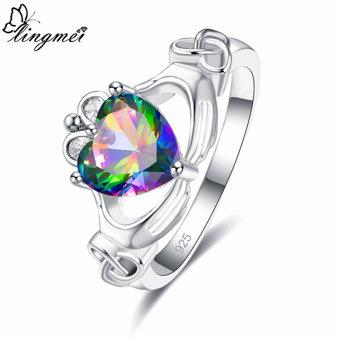 Lingmei Claddagh Style Wedding Bride Heart Promise Ring for Women Multicolor & Pink Zircon Silver Jewelry Fashion Size 6-9